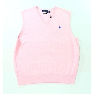 Polo Ralph Lauren NEW Light Pink Mens Size Medium M V-Neck Sweater Vest