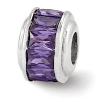 Italian Sterling Silver Reflections Purple CZ Bead (4mm Diameter Hole)