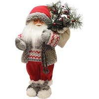 "12.5"" Santa in Winter Vest with Sack of Pine Christmas Figure Decoration - WHITE"