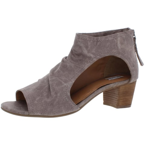 Not Rated Women's Ann Faux Leather Open Toe Slouchy Heeled Ankle Boots - Grey
