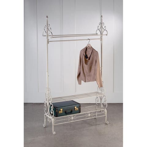 Cream Metal Garment Floor Rack