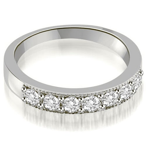 0.70 cttw. 14K White Gold Classic Milgrain Round Cut Diamond Wedding Band