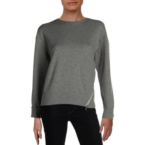 Rag & Bone Womens Marlie Sweatshirt Zipper Detail Crewneck - Heather Grey