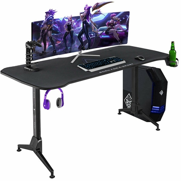 Gymax Gaming Desk 62.5'' T-Shape Height Adjustable w/ Mouse Pad Handle. Opens flyout.