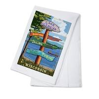 Lake Geneva, WI - Destinations Sign - LP Artwork (100% Cotton Towel Absorbent)