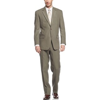 Michael Kors MK Linen 2pc Suit 36 Short 36S Olive Flat Front Pants 29 Waist