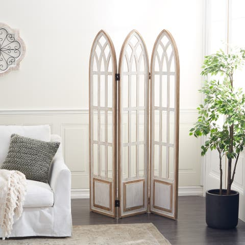 White Wood Farmhouse Room Divider Screen 72 x 48 x 2 - 48 x 2 x 72