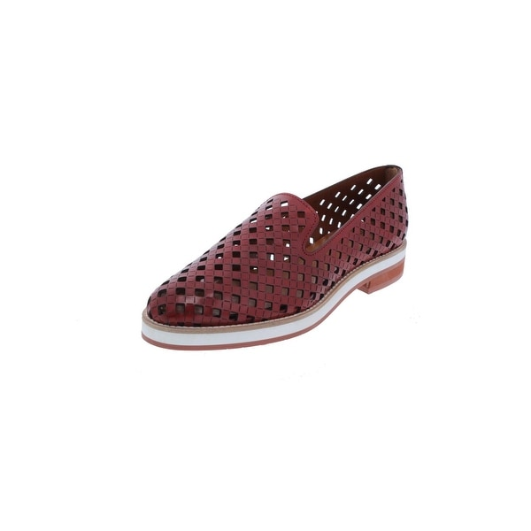 Aquatalia Womens Zanna Smoking Loafers Perforated Red 7.5 Medium (B,M) - 7.5 medium (b,m)