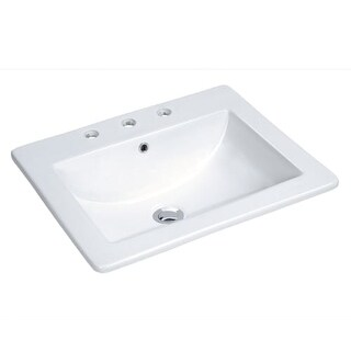 "Miseno MLD-2118-3 18"" Drop In Bathroom Sink with 3 Holes Drilled and Overflow"