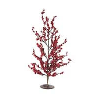 "23.5"" Festive Red Berries Artificial Decorative Christmas Tree - brown"
