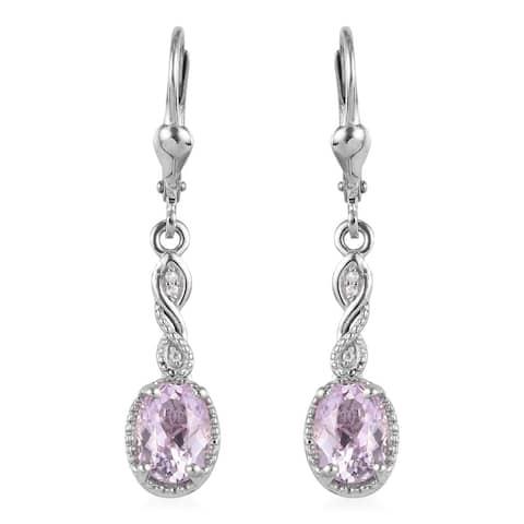 Platinum Over Sterling Silver Kunzite Zircon Dangle Earrings Ct 3.4