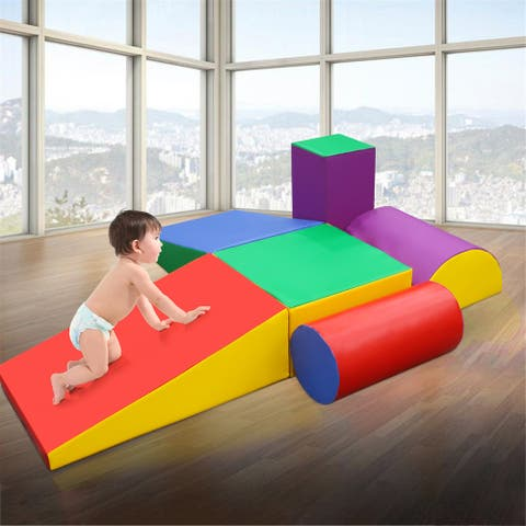 6 Piece Lightweight Interactive Set Crawl and Climb Colorful Fun Foam Play Set Block Toy for Toddlers - MultiColor