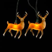 Set of 10 Reindeer Novelty Christmas Lights - Green wire - brown