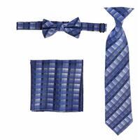 Boys Royal Blue Plaid Striped Tie Bow Tie Pocket Square 3 Pc Accessory Set