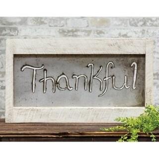 Framed Metal Cutout Thankful Sign