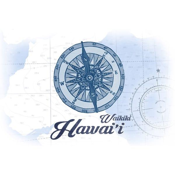 Waikiki, Hawaii - Compass - Blue - Coastal Icon - Lantern Press Artwork  (Art Print - Multiple Sizes Available)