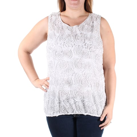 STUDIO M Womens Ivory Embellished Sleeveless Jewel Neck Top Size: XS