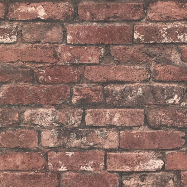 Brewster 2604-21258 Oxford 56 Sq. Ft. Exposed Brick Imitating Non-Woven Wallpaper - One Roll - rust brick - N/A