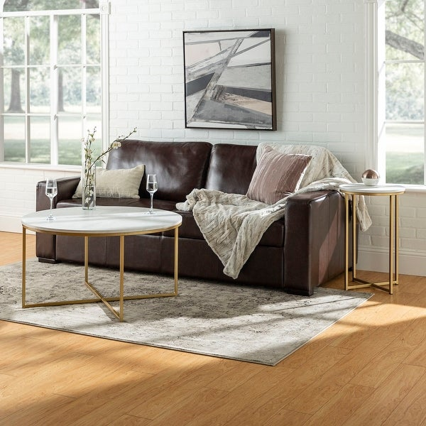 White Marble Round Gold Base Coffee Table: Shop Offex 2 Piece Round X-Base Coffee And Side Table Set