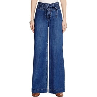 Free People Womens Augusta Flare Jeans High-Rise Dark Wash