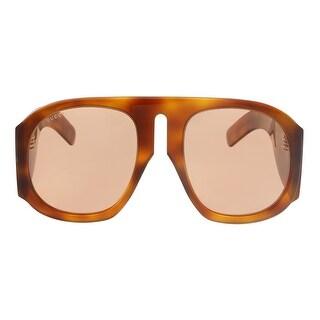 Gucci GG0152S 005 Havana/ Yellow Oversized Sunglasses - 57-22-140