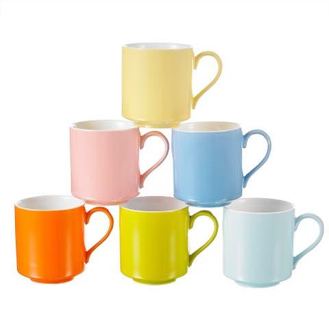 """Panbado, 6-Piece 4.75"""" Multicolor Porcelain Coffee Mugs Tea Cups"""
