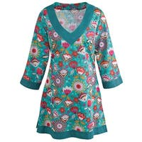 Women's Tunic Top - Teal Green Geo Print Long Fit Shirt