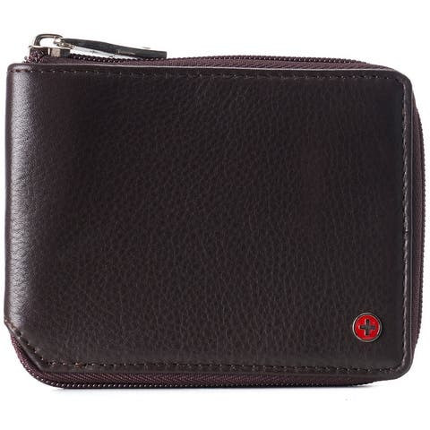 Alpine Swiss Logan Zipper Bifold Wallet For Men or Women RFID Safe Comes in a Gift Box - One Size