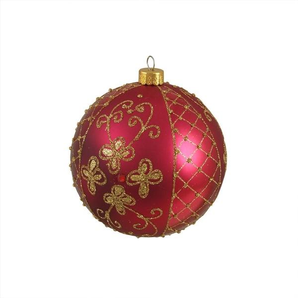 "Reddish Pink Glitter Floral Design Shatterproof Christmas Ball Ornament 4"" 100mm"
