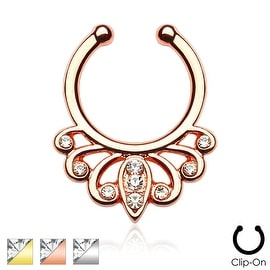 Filigree with Clear Gems Non-Piercing Septum Hanger (Sold Ind.)