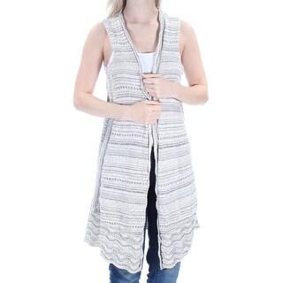 Womens Gray Sleeveless Open Sweater Size S