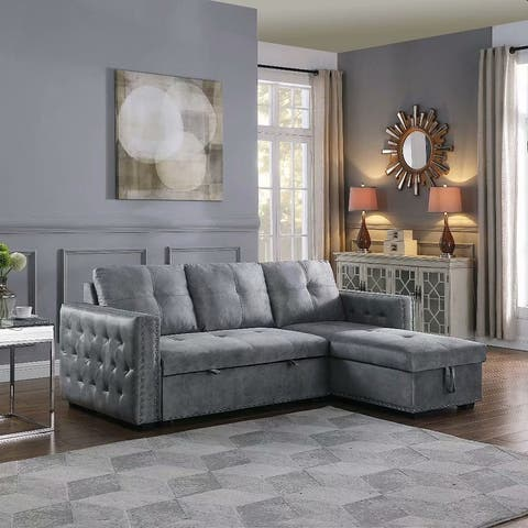 Morden Fort Velvet Reversible Sleeper Sectional Sofa L-Shape 3 Seat Sectional Couch with Storage