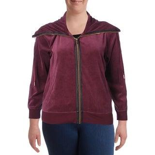Calvin Klein Womens Plus Jacket Velour Zipper
