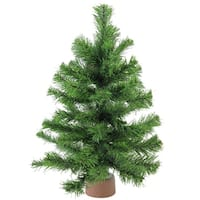 "18"" Mini Pine Artificial Christmas Tree in Faux Wood Base - Unlit - brown"
