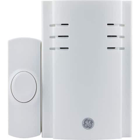 GE 19299 8-Melody Plug-in Door Chime with Push Button - White