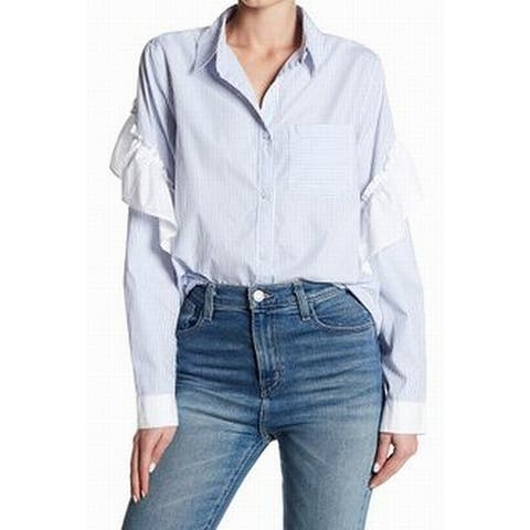 Abound NEW Blue Womens Size XS Ruffled Striped Pocket Button Down Top