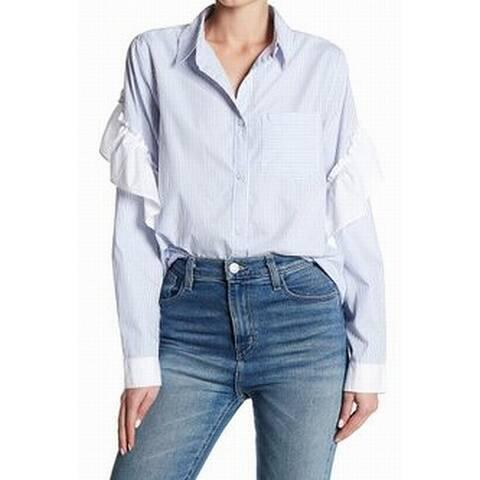 Abound NEW Blue Womens Size XXS Ruffle-Trim Striped Button Down Blouse