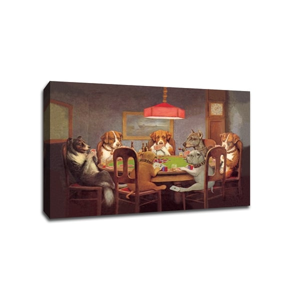 Dogs Playing Poker - Vintage Ads - 36x24 Gallery Wrapped Canvas Wall Art