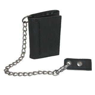 Levis Men's Leather Trifold Chain Wallet - Black - One Size