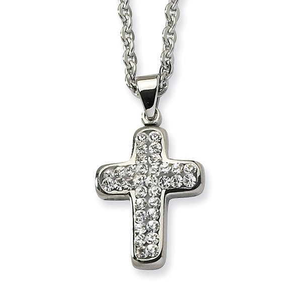 Chisel Stainless Steel Crystal Cross Pendant 22 Inch Necklace (2 mm) - 22 in