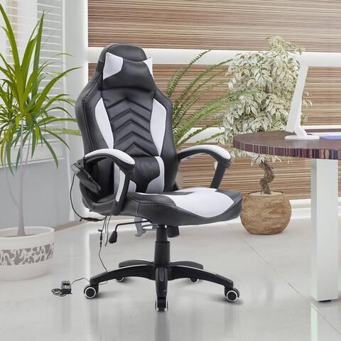 HomCom Racing Style Ergonomic Gaming Chair With Lumbar Support - White / Black