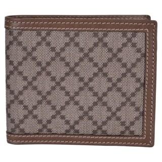 "Gucci Men's 225826 Beige Taupe Canvas Leather Diamante Bifold Wallet - 4.25"" x 3.5"""