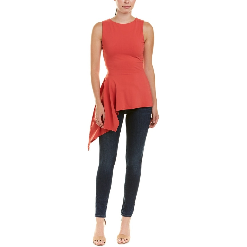 M Red Susana Monaco Womens Tie-Front Top