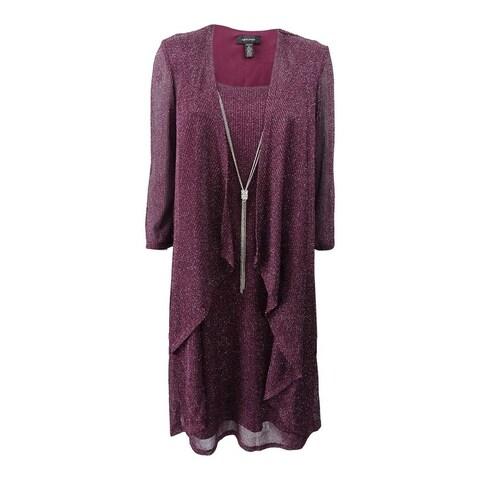R&M Richards Purple Womens Size 6 Shimmer Jacket Sheath Dress