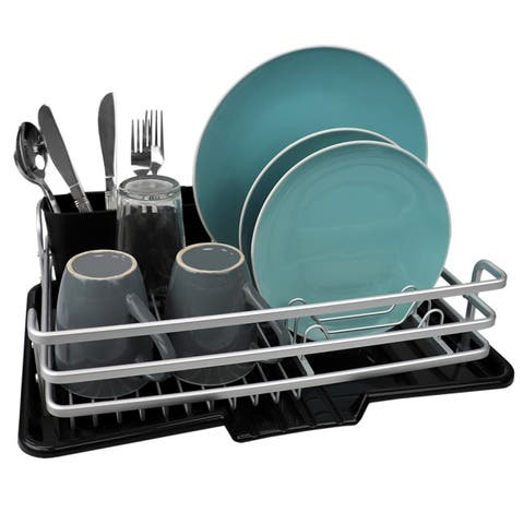 Aluminum Dish Rack with Side Mounting Cutlery Holder, Black
