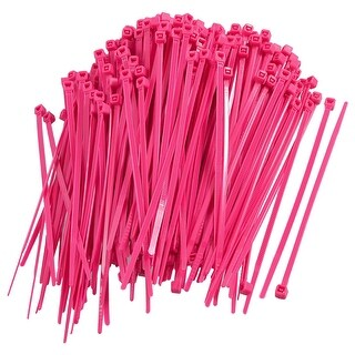 100mm Length Magenta Self-locking Nylon Cable Ties Organizer 300 Pcs