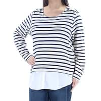 Womens Ivory Blue Striped Long Sleeve Scoop Neck Casual Tiered Top  Size  1X