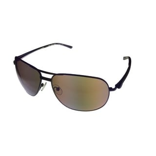 Umbro Mens Sunglass Brown, Solid Brown Lens Metal Sport Aviator GS08 - Medium