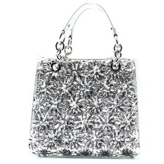Michael Kors NEW Silver Floral Burst Leather Small Satchel Bag Purse