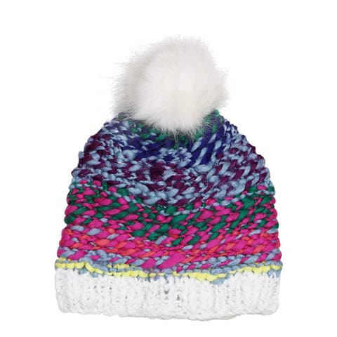 INC International Concepts Women's Rainbow Shine Pom Pom Beanie Hat One Size - White - One Size Fits Most